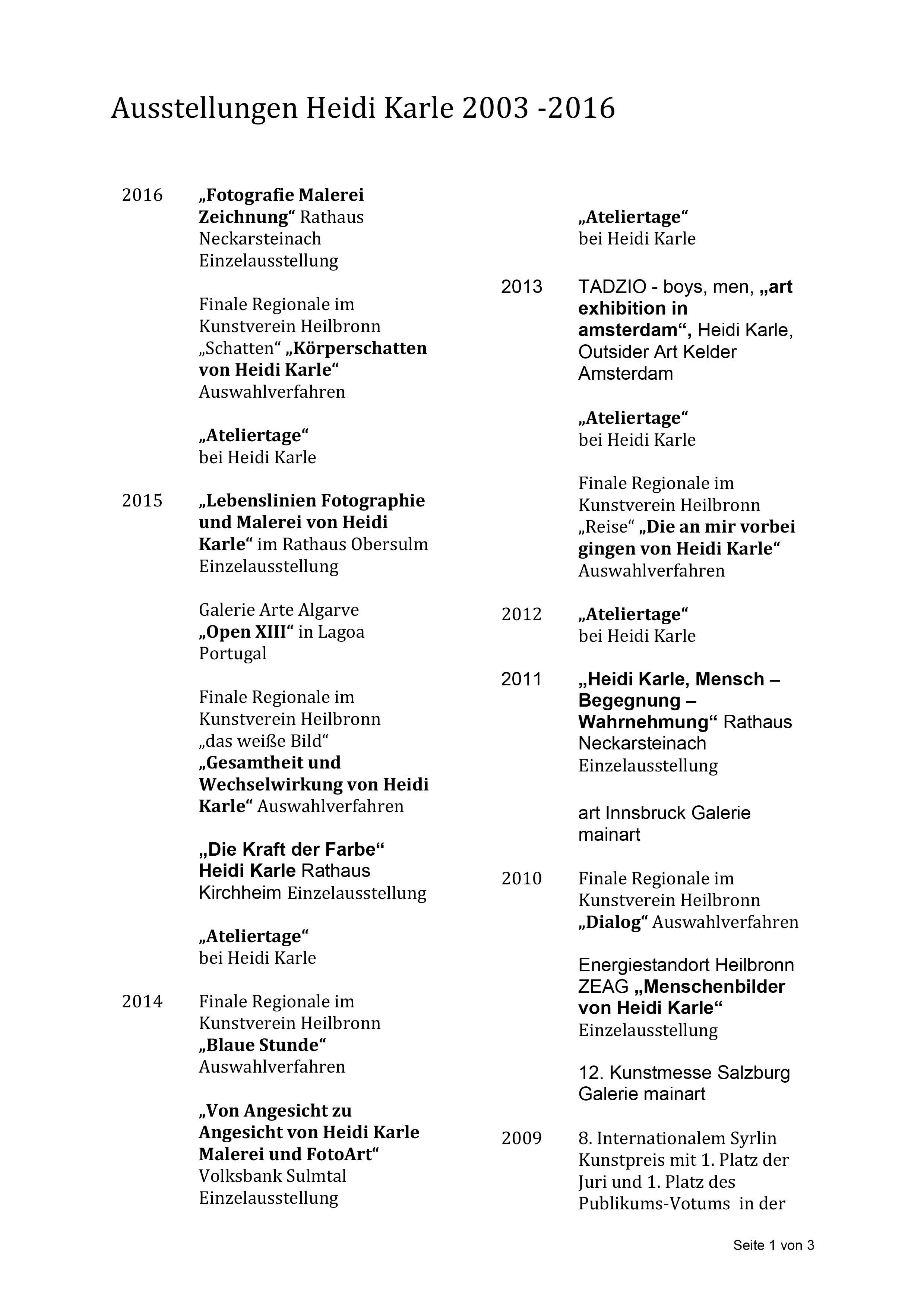 Ausstellungsverzeichnis Seite 1